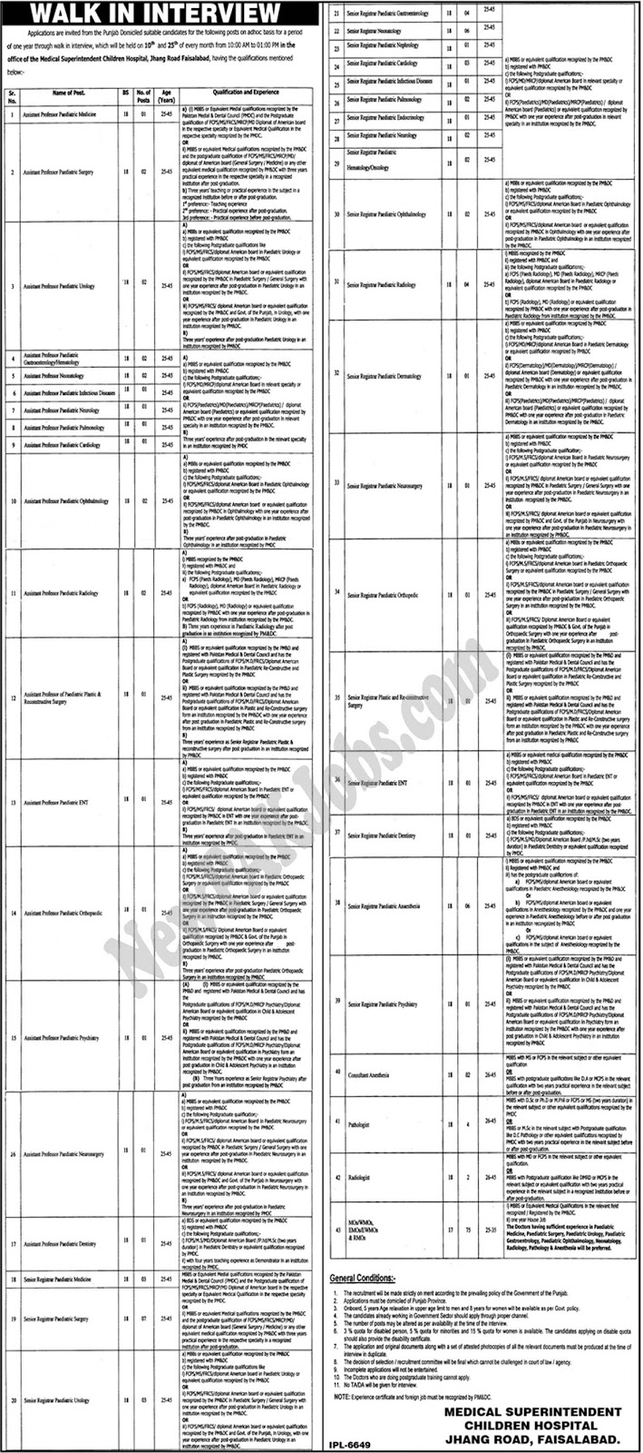 Walk-in Interview Jobs in Children Hospital Faisalabad MBBS Latest Jobs June 2018