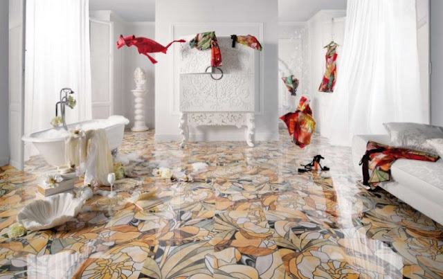 Original floor pattern with floral tile design for bathroom