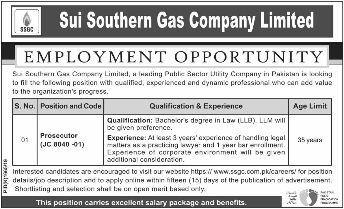 SSGC Jobs 2019 Sui Southern Gas Company Limited