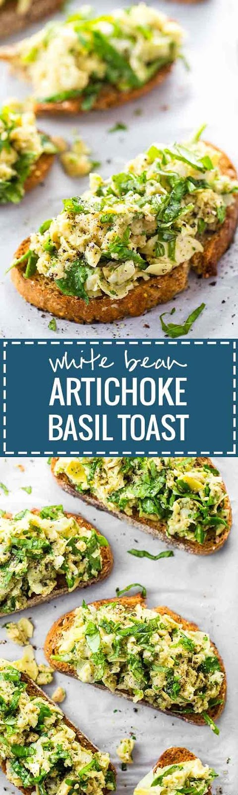 White Bean Artichoke Basil Toasts - a tangy, fresh 10 minute artichoke and basil salad loaded on whole wheat toast. Vegan.