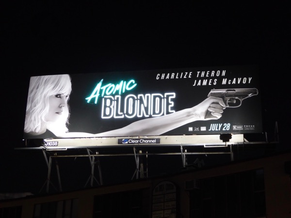 Atomic Blonde neon sign billboard installation