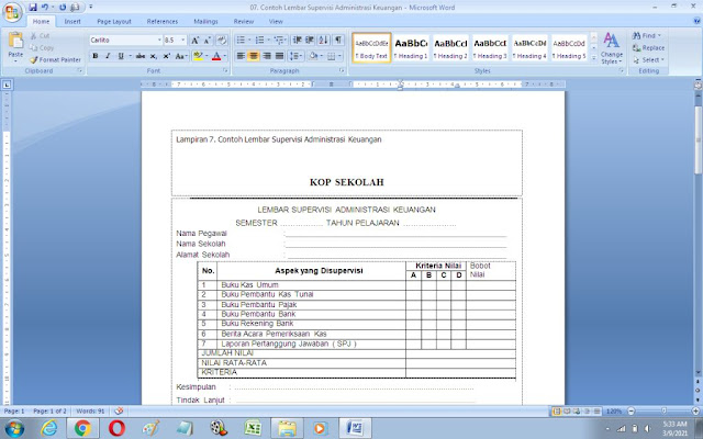 Contoh Lembar Supervisi Administrasi Keuangan Sekolah