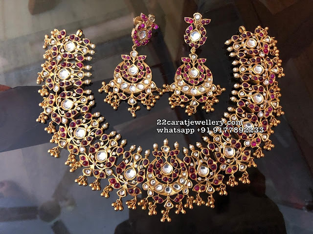 Red Stone Ruby Choker with Earrings