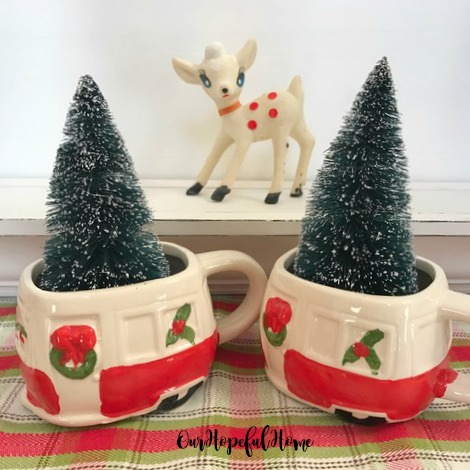 Dollar Tree ceramic retro campers bottle brush trees vintage white flocked reindeer