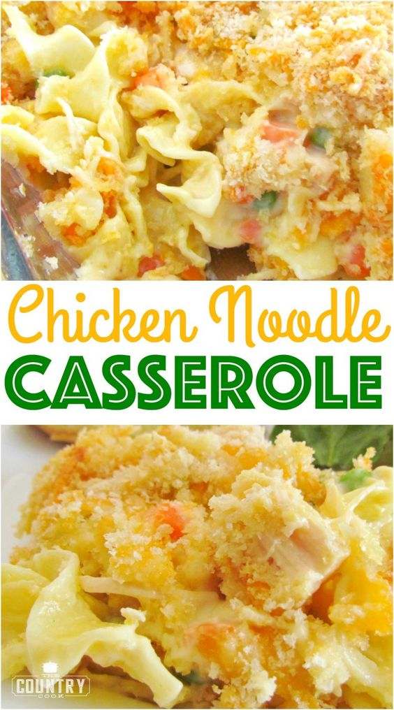 This Easy Chicken Noodle Casserole is made with egg noodles, chicken breast, a creamy, tasty filling and topped with buttered bread crumbs! Family approved!