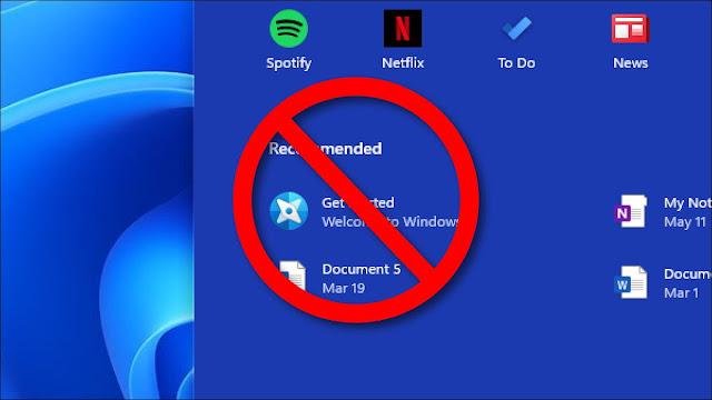 تم شطب ملفات ومجلدات Windows 11 الأخيرة في قائمة ابدأ.