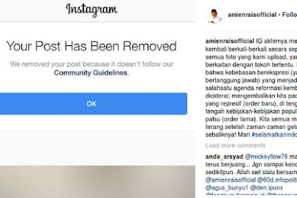 Nah Loh... Foto IG Amin Rais dihapus, Pan Minta Instagram Menjelaskan Alasannya