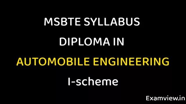 MSBTE Syllabus I scheme PDF   Automobile Engineering all Sem