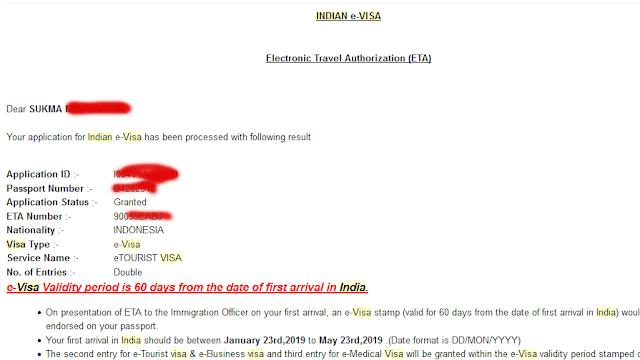 Email bahwa E-Visa telah granted