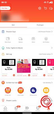 1. Untuk merubah nama toko silakan kalian buka aplikasi Shopee lalu buka menu Saya. Setelah itu klik Toko Saya yang berada di pojok kiri atas
