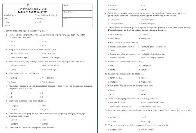 Soal PAS Kelas 4 SD/MI: Tema 4