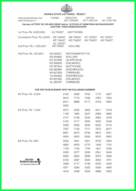 Kerala Lottery Results Karunya Lottery Results 13-07-2019 KR-404-