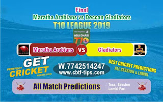 Who will win Today T10 League 2019, Final Match Maratha vs Deccan - Cricfrog