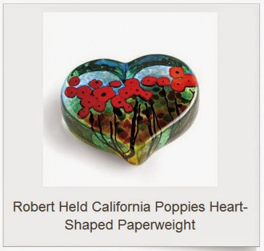 calilfornia poppies heart paperweight by robert held
