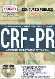 Apostila concurso CRF PR 2016 Assistente Administrativo, Grátis CD