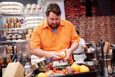 Jay Ducote works on a recipe during The Next Food Network Star.