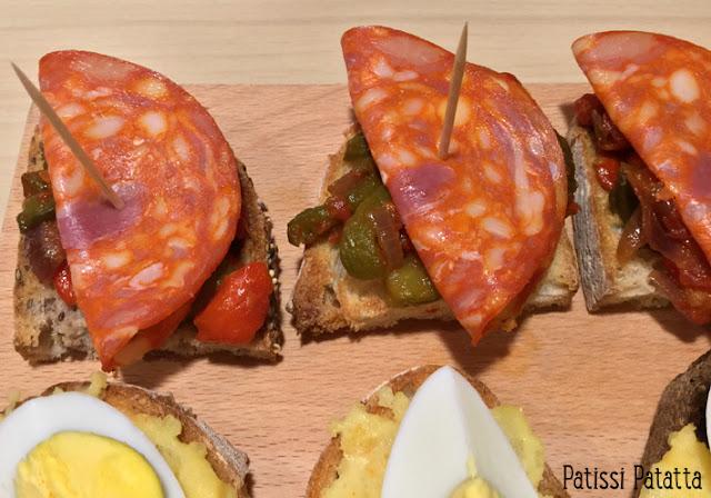 recette de pintxos, pintxos basques, tapas basques, apéritif espagnol, piperade, chorizo, pintxos piperade, pintxos chorizo