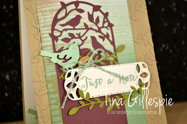 scissorspapercard, Stampin' Up!, CASEing The Catty, Botanical Tags, Stitched Labels, Birds and Blooms, Wood Textures DSP, Notes Of Kindness, Soft Sayings, Sponge Brayer