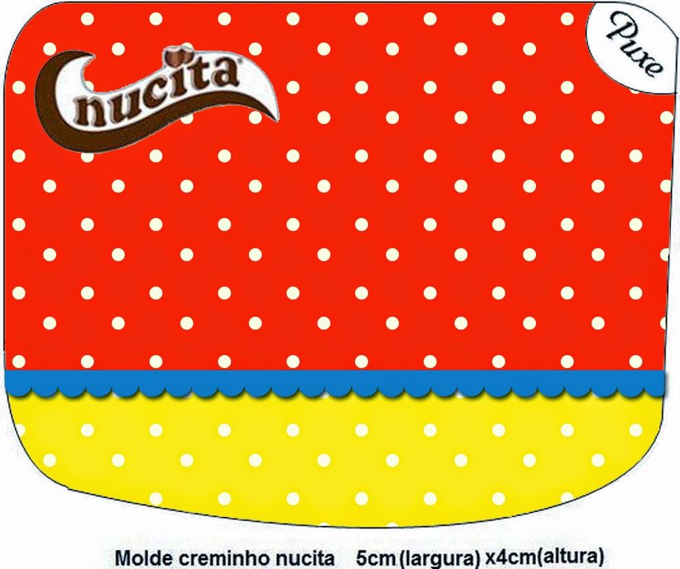 Etiqueta Nucita para Imprimir Gratis de Rojo, Amarillo y Lunares Blancos.
