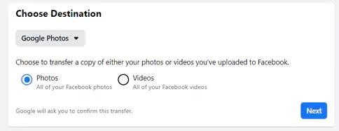 نقل صور فيديو فيسبوك
