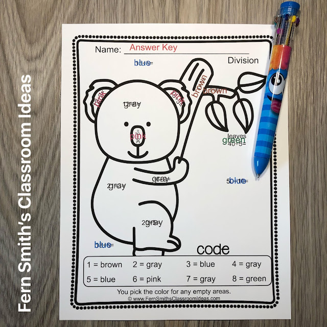Click Here to Download This Division Color By Number Worksheet Freebie for Your Classroom Today!