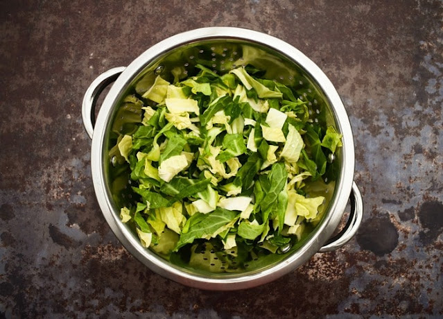 Step 6 - spring cabbage (in colander, chopped and rinsed)