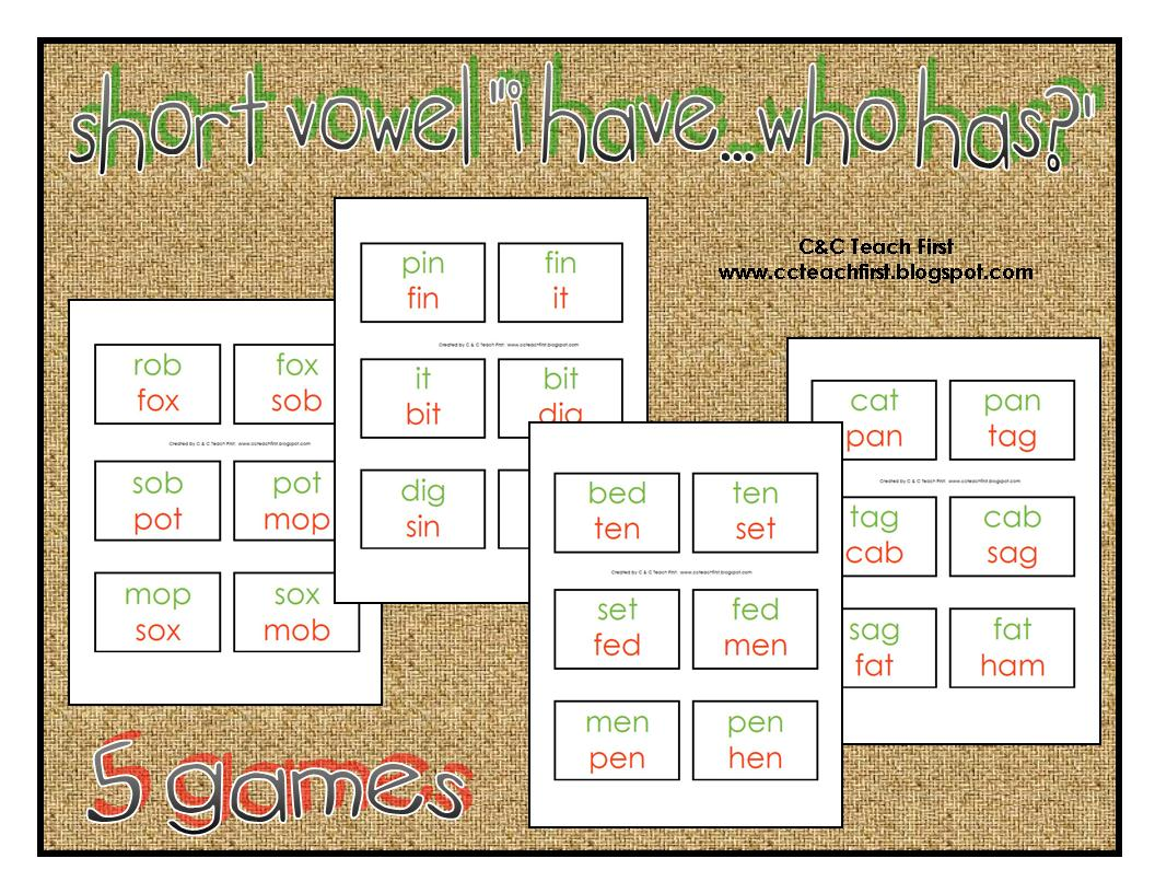 Clip Art By Carrie Teaching First Short Vowel Circle Games
