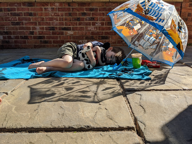 Child relaxing in the sun