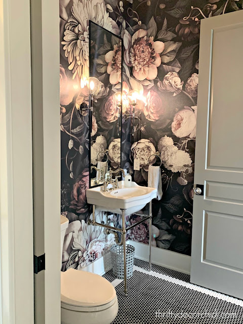 Large peony pink and black wallpaper