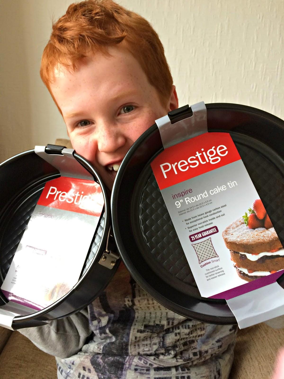 Ieuan Hobbis holding 2 Prestige Baking Trays