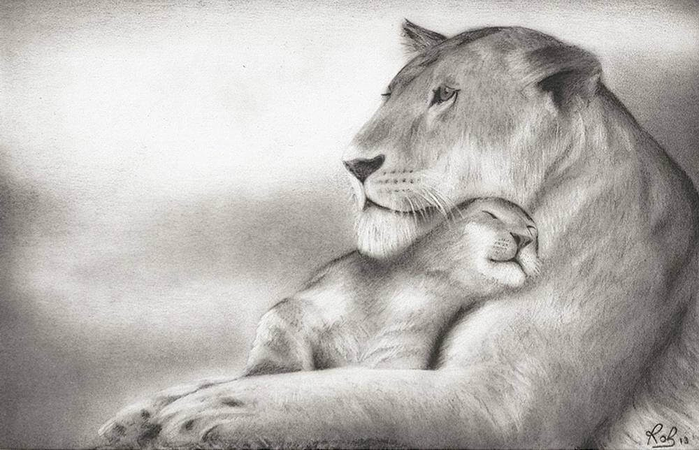 08-Lioness-and-cub-Roberto-Matteazzi-Animal-Drawings-in-Black-and-White-Charcoal-Portraits-www-designstack-co