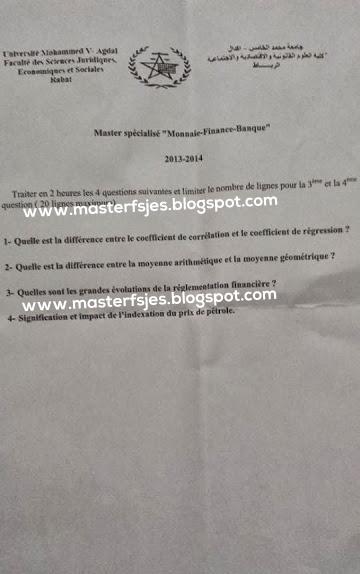 Concours d'accès au Master Monnaie, Finance, Banque 2013-2014