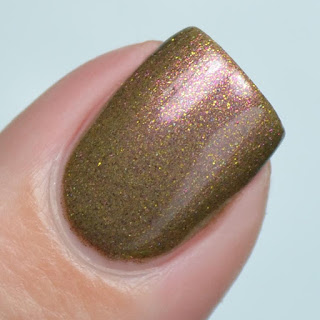 olive nail polish with pink shimmer