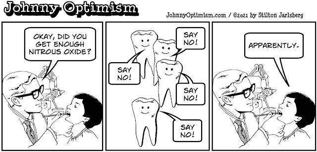 johnny optimism, medical, humor, sick, jokes, boy, wheelchair, doctors, hospital, stilton jarlsberg, dentist, gas, nitrous oxide, hallucinations