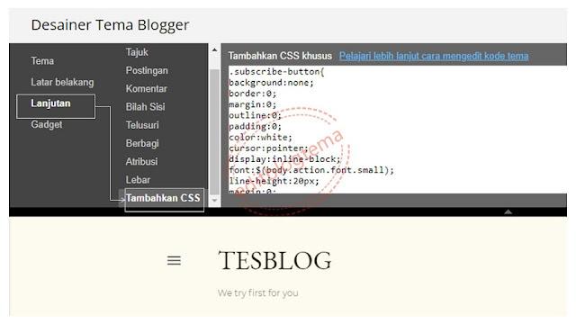 pengaturan atau dasbor desainer theme blogger