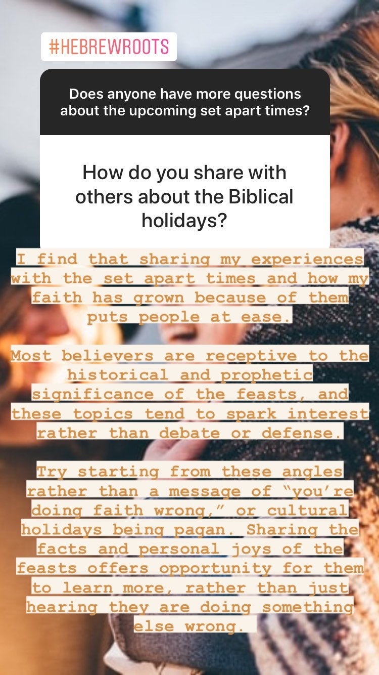 Questions and Answers about the Biblical Holidays of Tabernacles, Yom Teruah, and Yom Kippur - how to share with others | Land of Honey