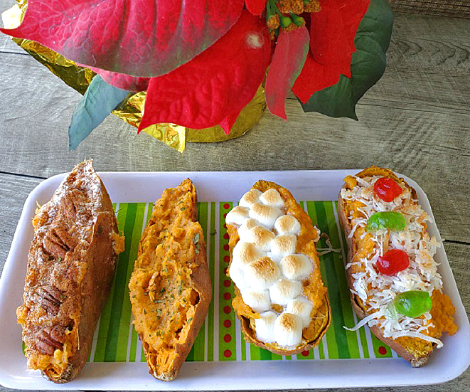 these are twice baked sweet potatoes with assorted toppings