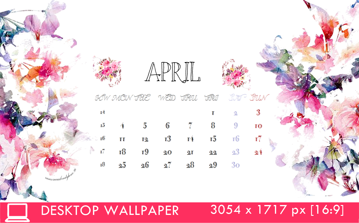 Desktop Calendar 4 April 16 3054x1717px 16z:9