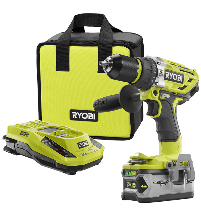 ryobi hammer drill, battery, charger and case