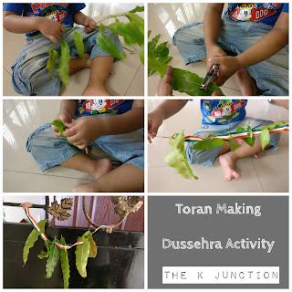 dussehra activity kids preschooler toddler children toran practical life montessori fine motor