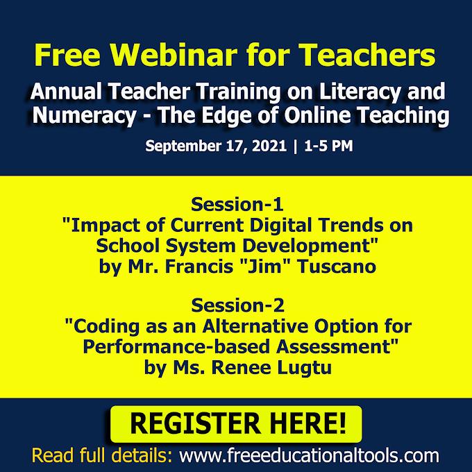One-Day Free Webinar for Teachers on Annual Teacher Training on Literacy and Numeracy | September 17 | Register Here