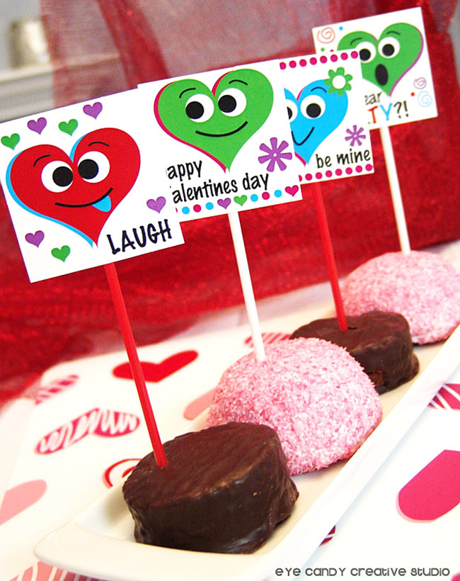 laugh, treat toppers for valentines, kids valentines party, no bake treats