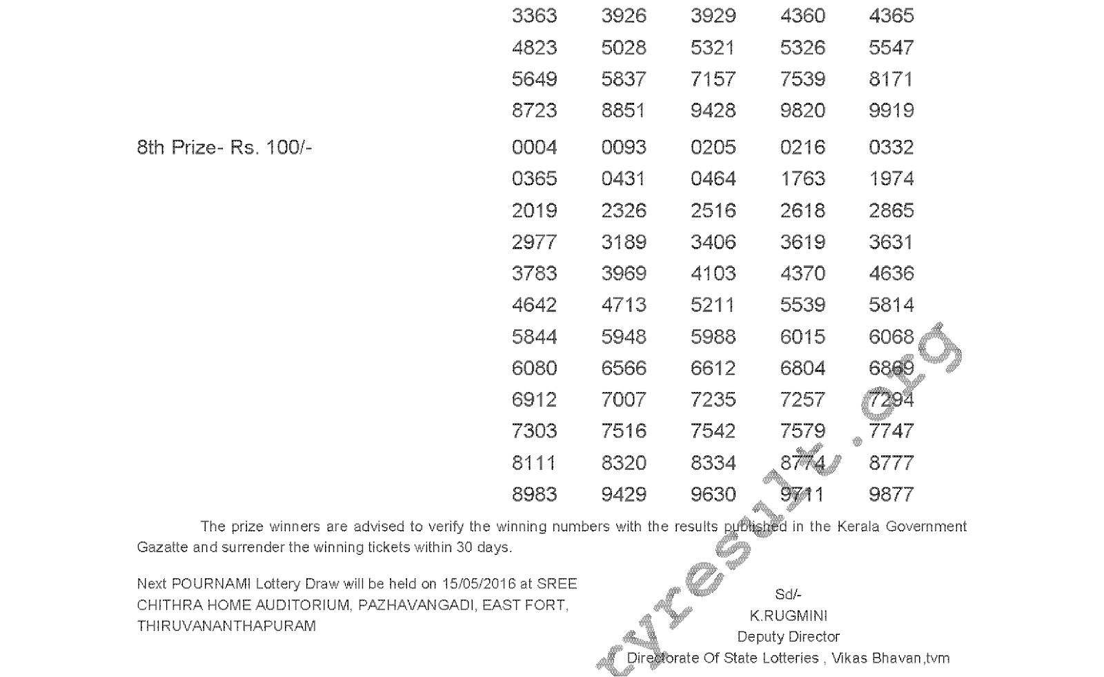 POURNAMI Lottery RN 236 Result 8-5-2016