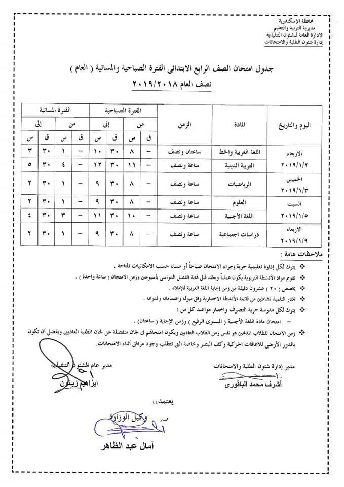 جدول امتحانات الصف الرابع الابتدائي محافظة الأسكندرية 2019 نصف العام