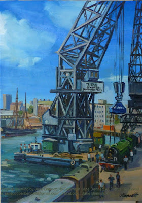 Plein air oil painting of the crane 'Titan'  unloading the heritage steam locomotive 'The Flying Scotsman' at the Pyrmont Wharves  by industrial heritage artist Jane Bennett