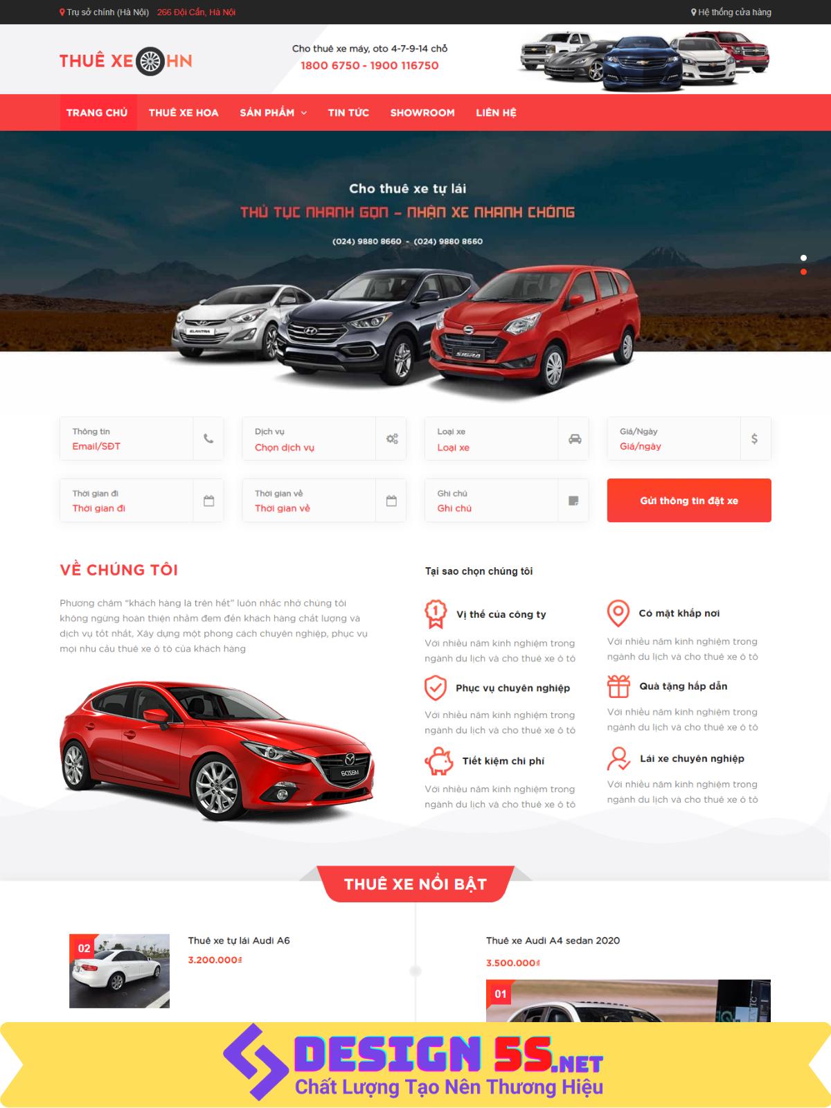 Theme blogspot dịch vụ cho thuê xe, đẹp chuẩn SEO VSM52