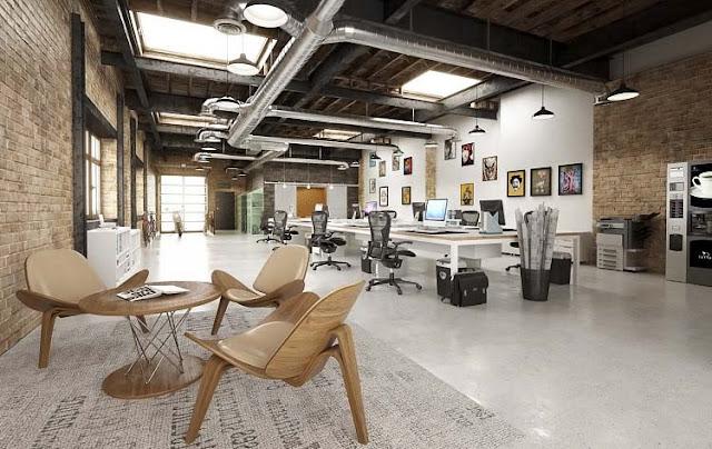 Desain 3D Interior Ruang Perkantoran Terbuka