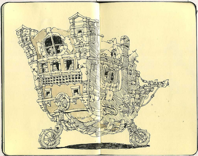 26-Two-Wheel-Drive-Mattias-Adolfsson-Surreal-Architectural-Moleskine-Drawings-www-designstack-co