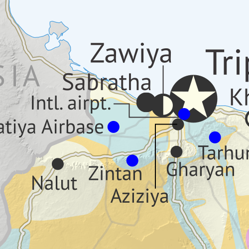 Libya: Who controls what? A concise, professional map of who controls Libya now (April 2020). Shows detailed territorial control in the Libyan Civil War as of April 22, 2020, including all major parties (Government of National Accord (GNA); Tobruk House of Representatives, General Haftar's Libyan National Army (LNA), and allies; Tuareg and Toubou (Tebu, Tubu) militias in the south; the so-called Islamic State (ISIS/ISIL); and other groups such as the National Salvation Government (NSG)). Includes terrain, major roads, and recent locations of interest including Sabratha, Aziziyah, Al-Watiyah Airbase, Waw an Namus, and more. Colorblind accessible.