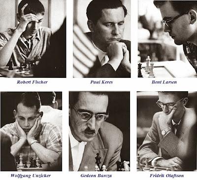 Zúrich 1959: Robert Fischer, Paul Keres, Bent Larsen, Wolfgang Unzicker, Gedeon Barcza y Fridrik Olafsson